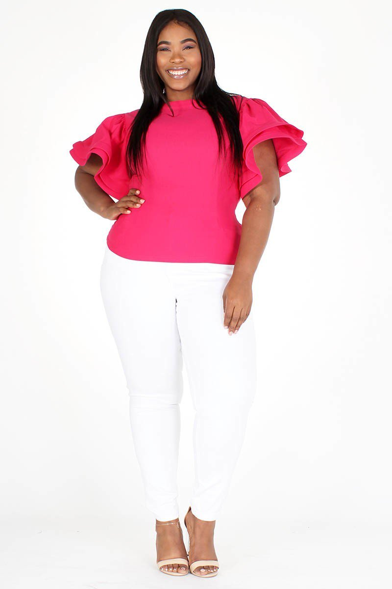 Plus Size Glam Ruffle Short Sleeve Top