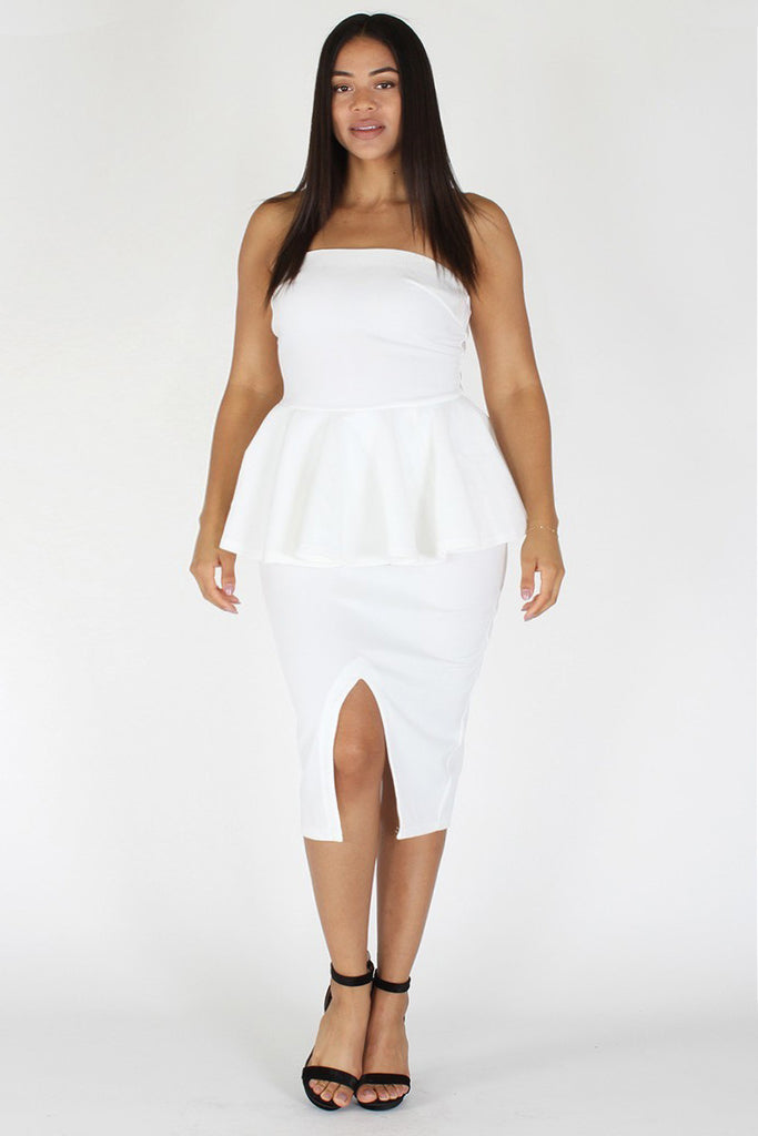 Plus Size Off Shoulder Peplum Pencil Skirt Dress