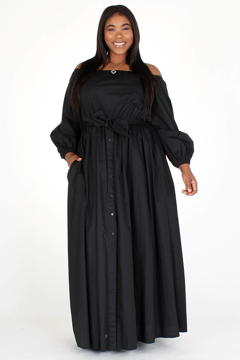 Plus Size Designer Maxi Flare Puff Sleeve Waist Tie Dress
