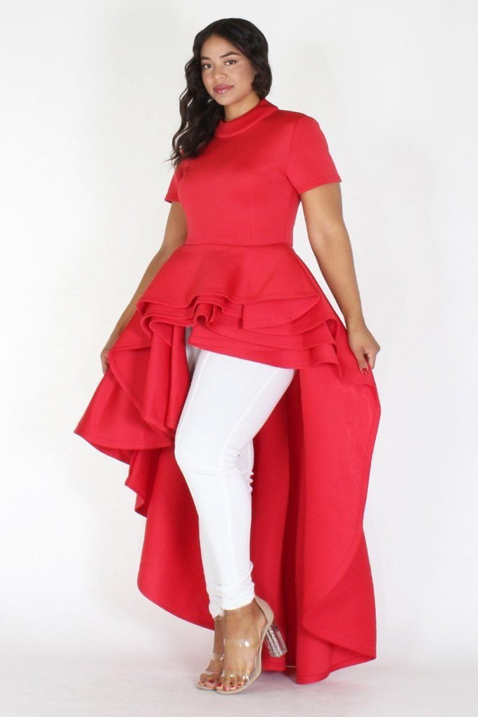 Plus Size Glam Short Sleeve Hi Low Tiered Dress Red