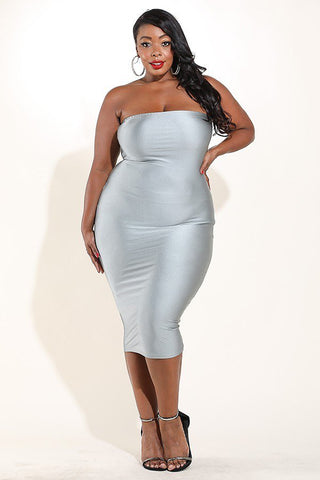 Plus Size Reflector Shine Sexy Tube Dress