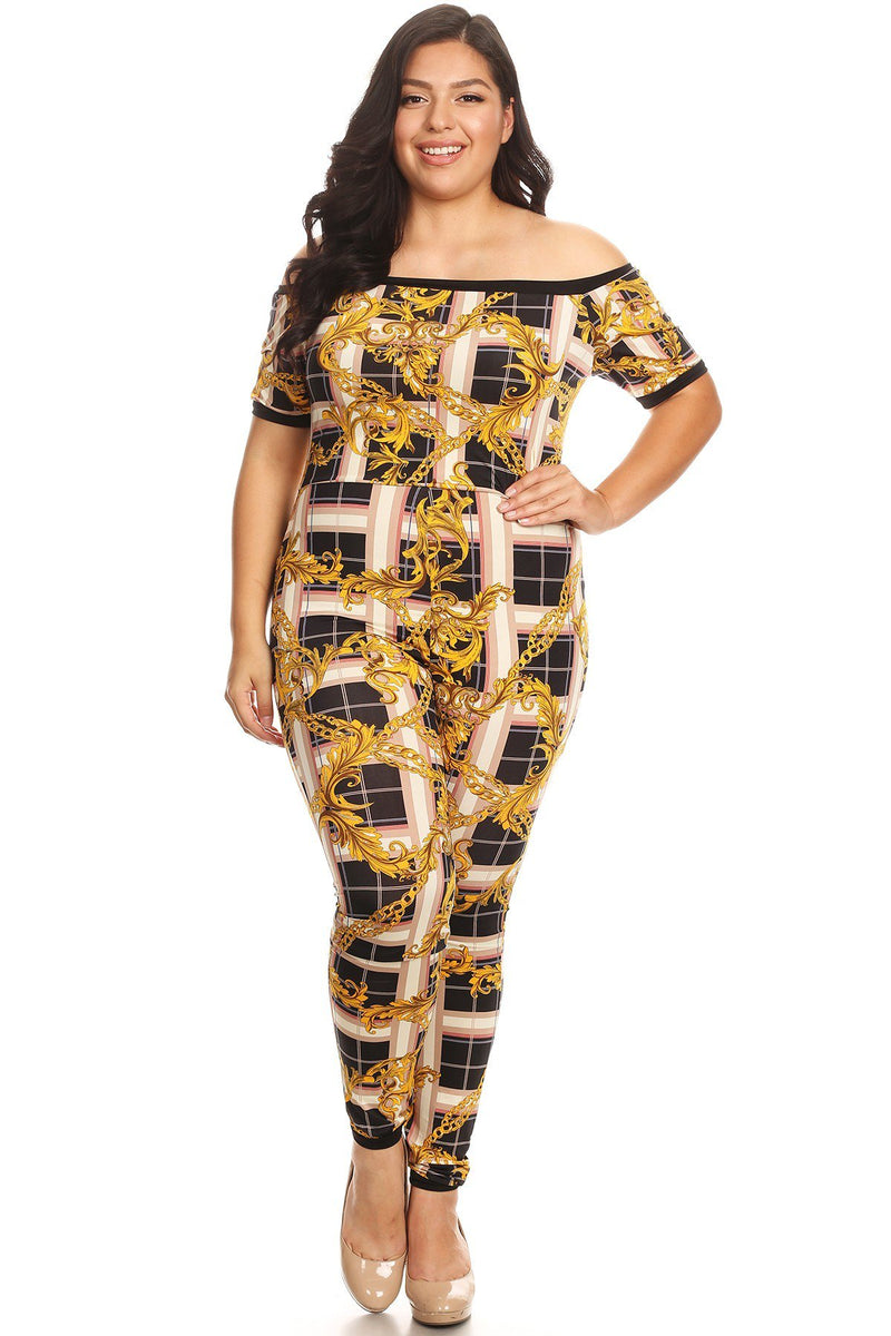 Plus Size Short Sleeves Printed Bodycon Fit Jumpsuit
