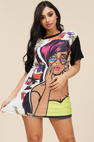 Plus Size Short Sleeve Studded Sublimation Top