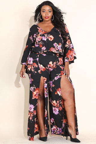 Plus Size Glowing Floral Double Slit Pant Set Black