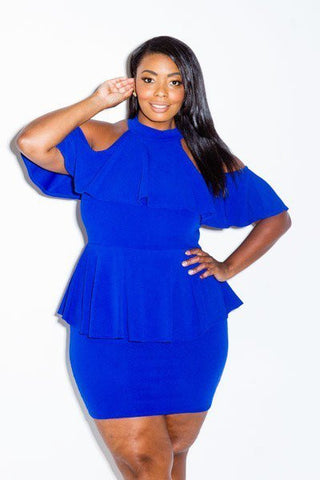 Plus Size Cold Shoulder Lovely Ruffle Layers Peplum Dress