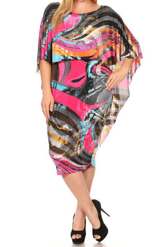 Plus Size Colorful Overlay Abstract Cape Dress