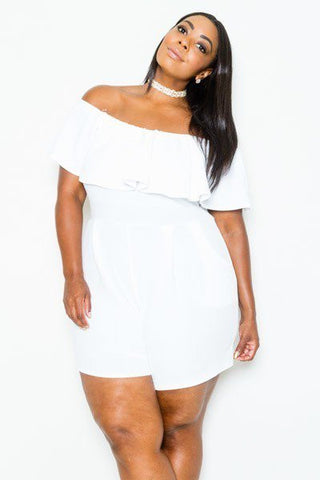 Plus Size Summer Off Shoulder Flounce Romper