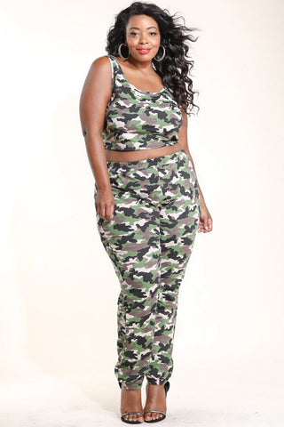 Plus Size Multi Camo Crop Top & Jogging Pants Set