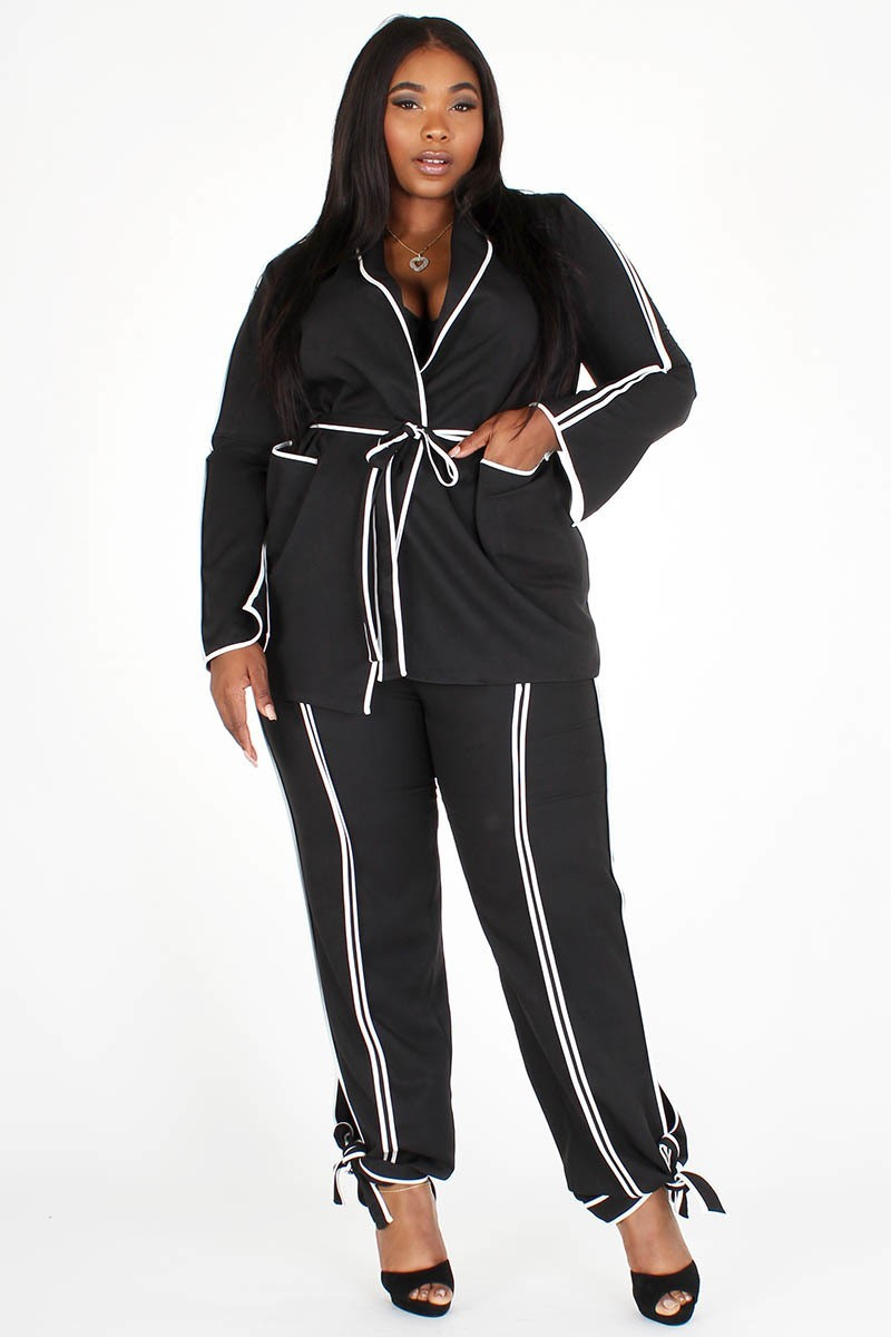 Plus Size White Stripe Two Piece Jacket Pants Set