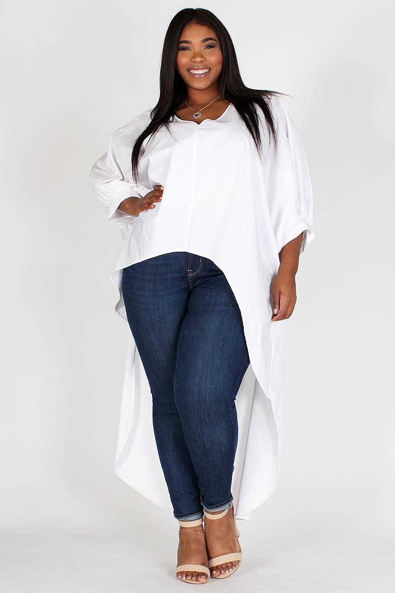 Plus Size Dolman Sleeves Solid Long Body Top
