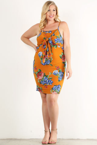 Plus Size Floral Printed Sleeveless Short Dress