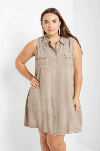 Plus Size  Stone Wash Sting Dress
