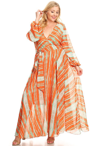 Plus Size New Style Multi-Colored Maxi Dress