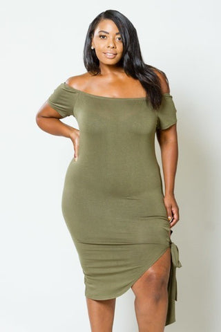 Plus Size Cut Out Side Bodycon Dress [SALE]