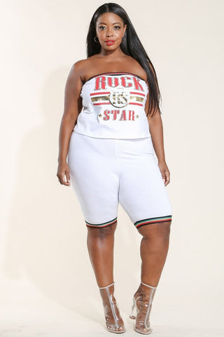 Plus Size Printed Tube Top & Biker Shorts