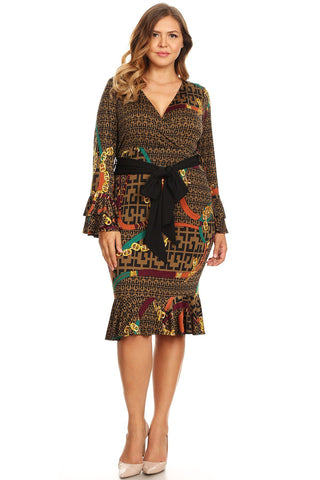 Plus Size Beautiful Designer Chain Print Bell Sleeve Dress