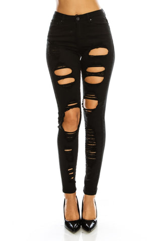 Plus Size High Rise Destroyed Skinny Jeans
