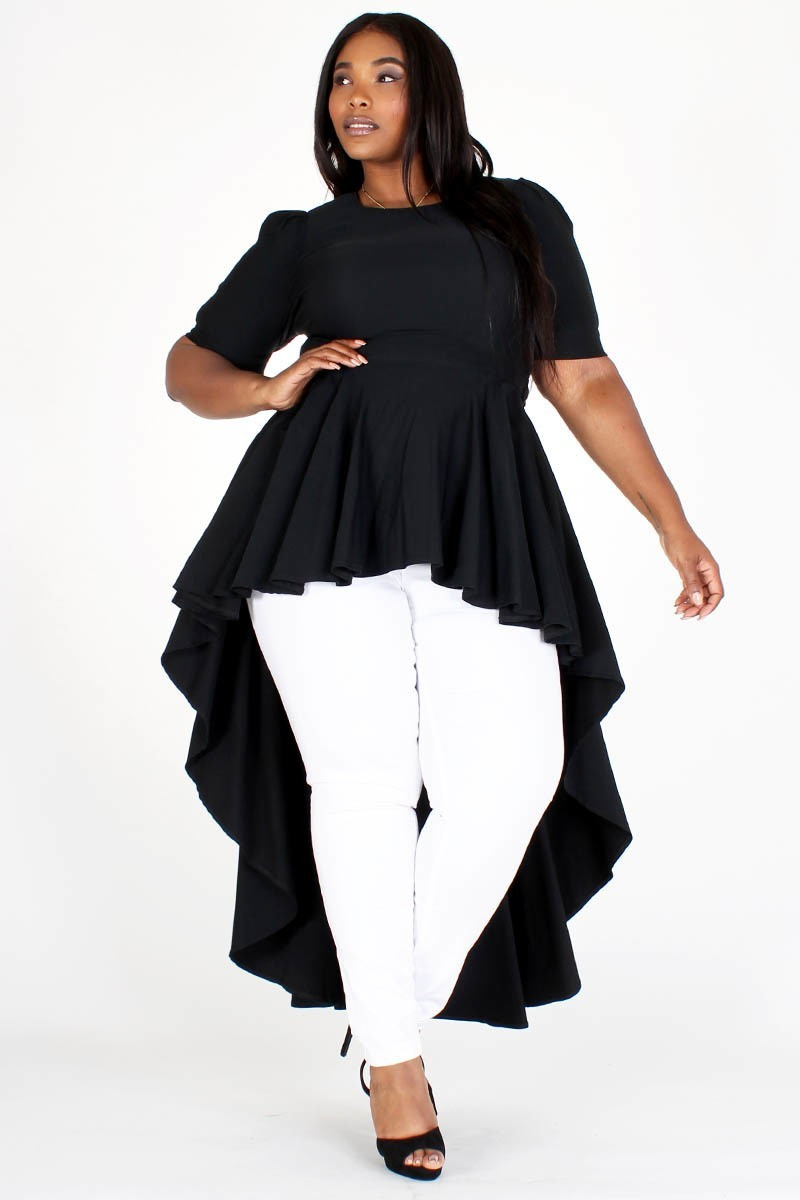Plus Size Empire Hi-Low Bow Ruffle Top