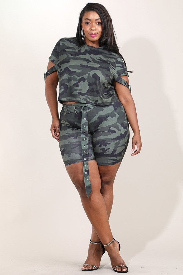 Plus Size Camo Queen Buckled Waist Top and Bottom Set
