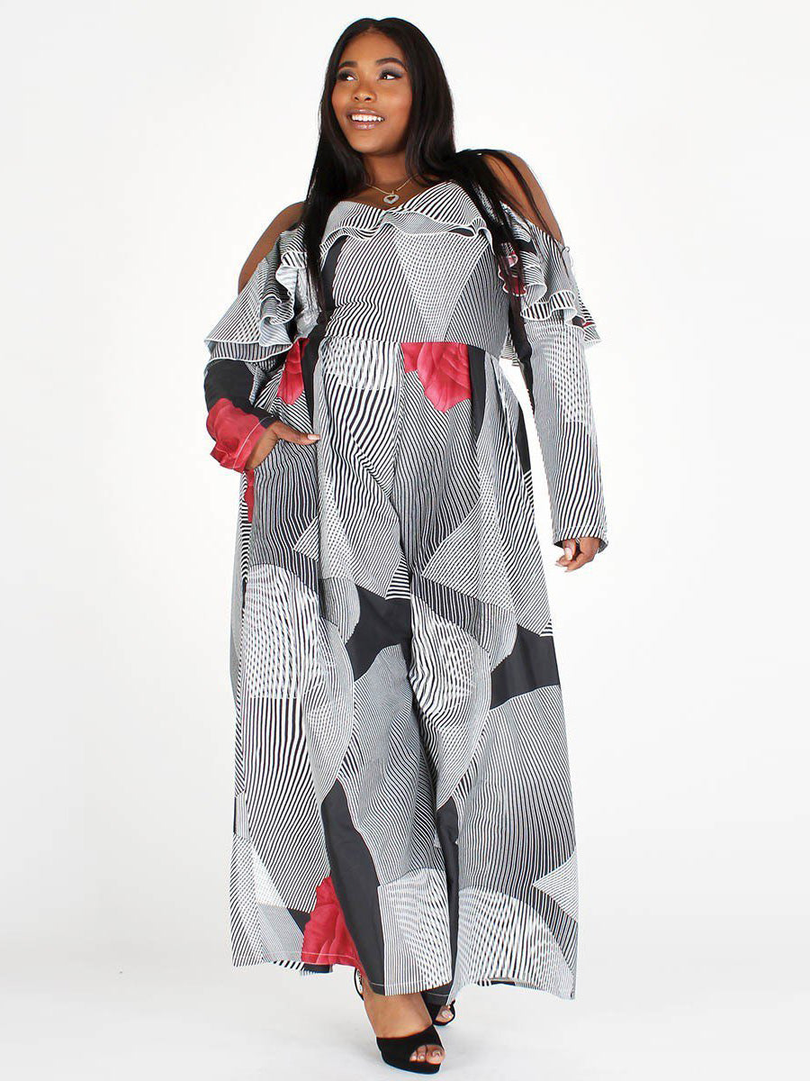 Plus Size Abstract Open Shoulder Wide Leg Jumpsuit