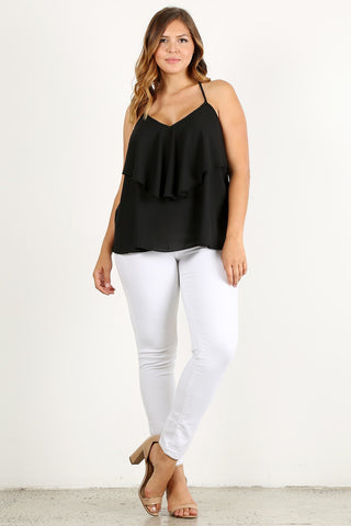 Plus Size Solid Relaxed Racerback Layered Top