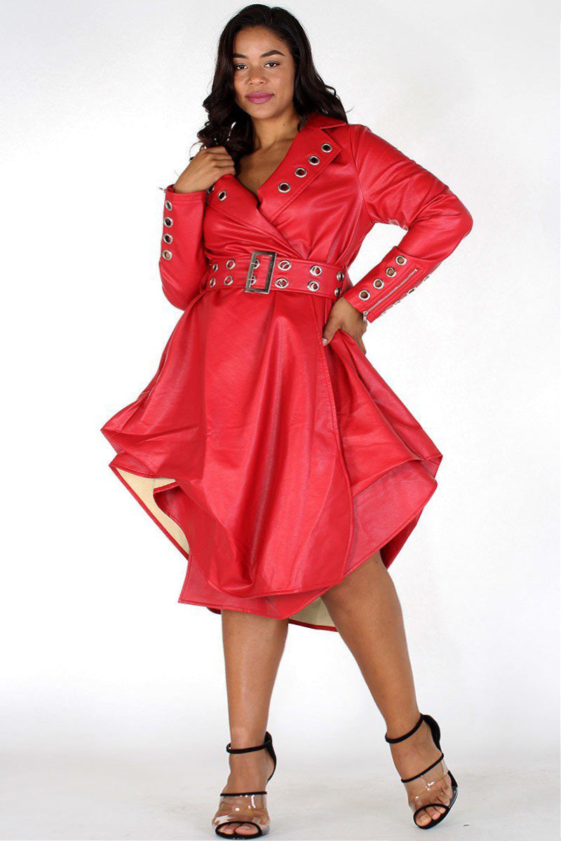 Plus Size Faux Leather Belted Flare Dress