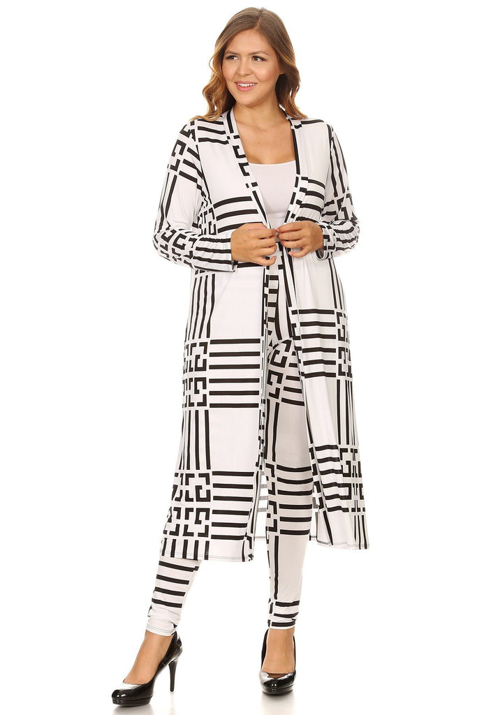 b884ed0ae3a Plus Size Geo Print Elegant Maxi Cardigan and Pants Set – Plussizefix