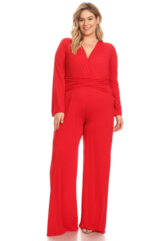 Plus Size Ruched Long Sleeves Wrapped Front Jumpsuit