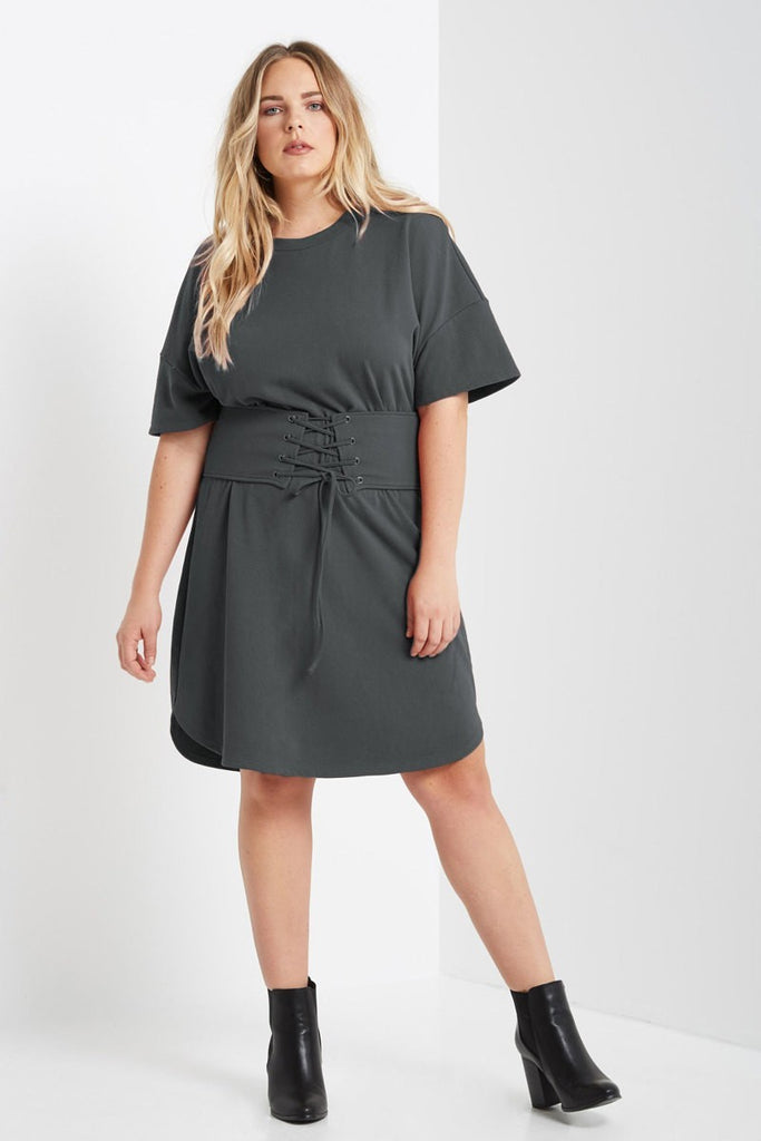 Plus Size Corset Waist Short Sleeve Sweatshirt Dress