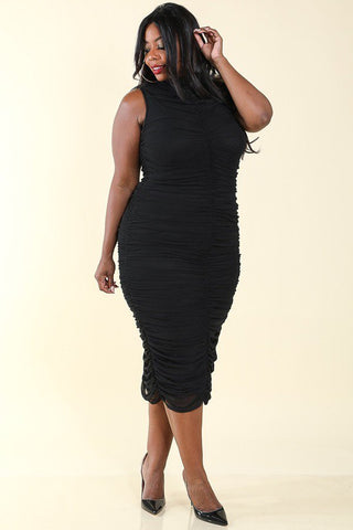 Plus Size All Over Ruched Mesh Dress