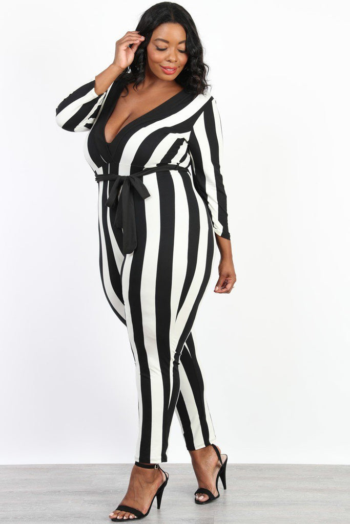 Plus Size Downtown Chic Stripe Belted Jumpsuit
