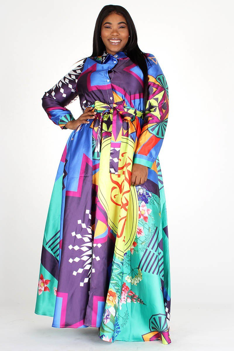 PRE-ORDER Plus Size Colorful Floral Print Pocketed Maxi Dress