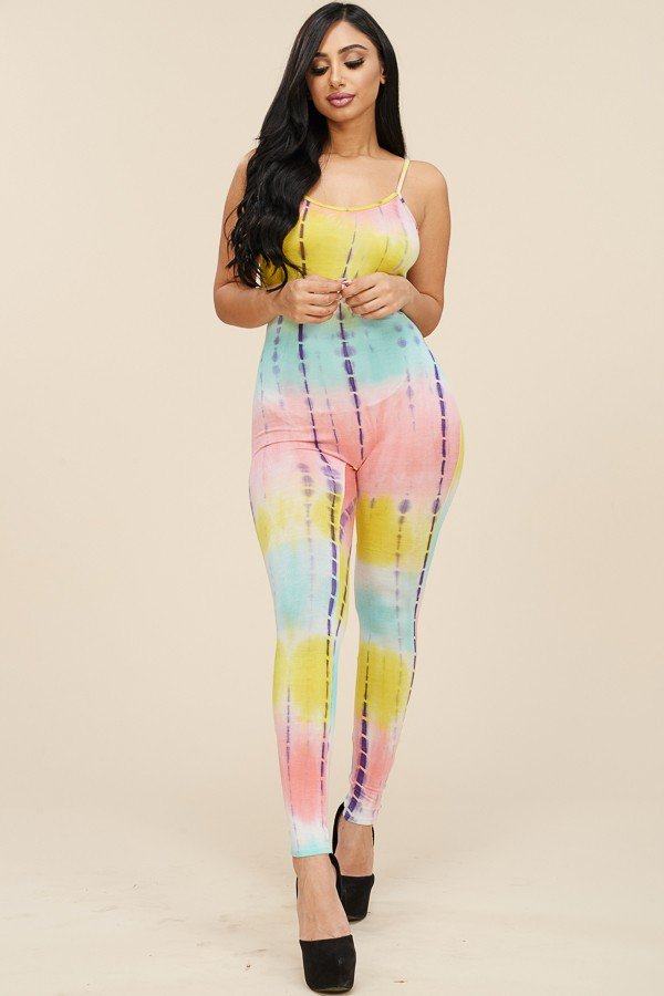 Tie Dye Basic Spaghetti Strap Jumpsuit Yellow Mint Pink