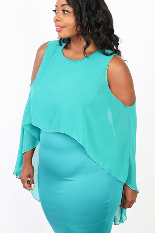 Plus Size Cold Shoulder Chiffon Layer Hi-Lo Dress