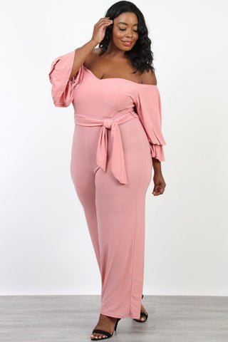 Plus Size Off Shoulder Ruffle Sleeve Jumpsuit