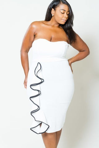 Plus Size Pretty Ruffle Side Strapless Dress [SALE]