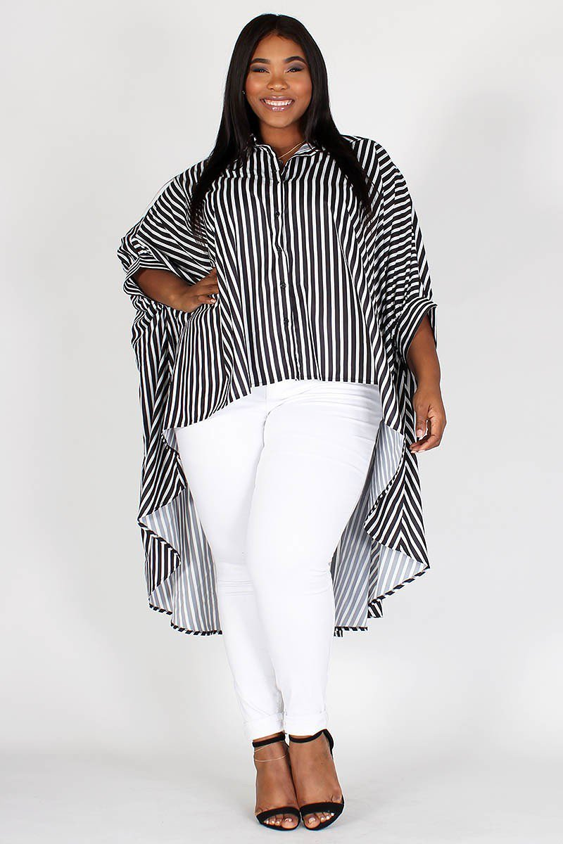 Plus Size Dolman Sleeves Long Body Hi-Lo Top