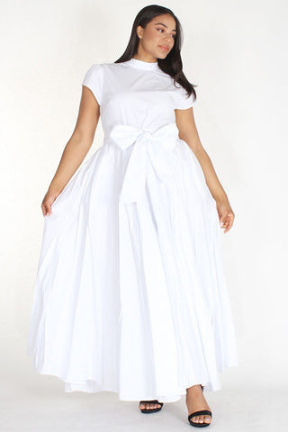 Plus Size Designer Cap Sleeve Maxi Tie Dress