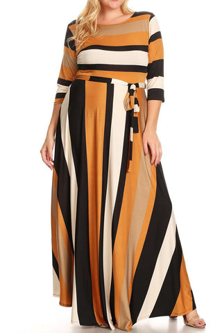 Plus Size Warm Stripe Waist Tie Long Sleeve Maxi Dress