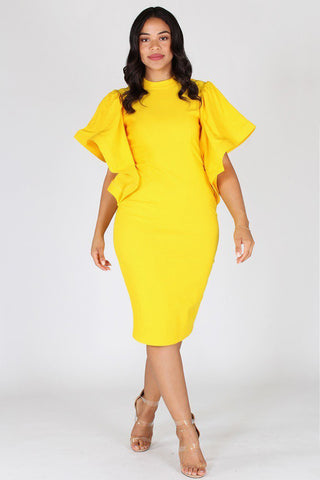Plus Size Elegant Bell Sleeves Keyhole Dress