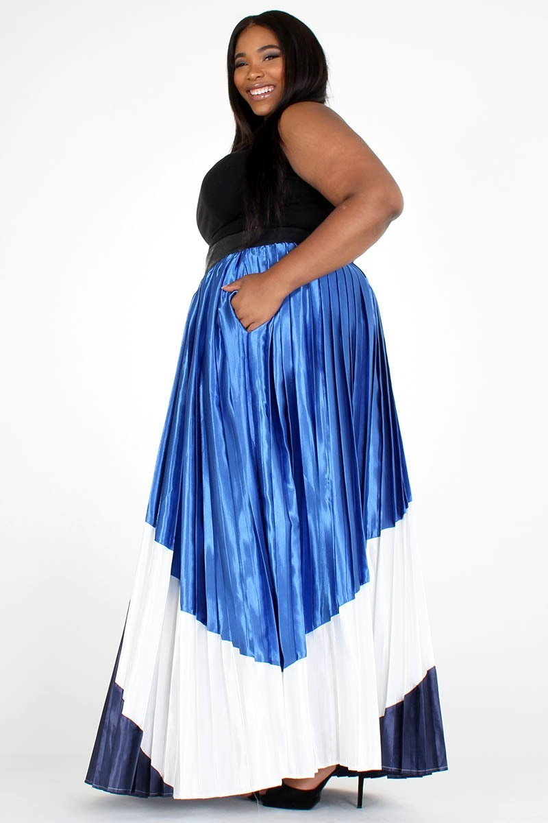 Plus Size Solid Color Block High Waisted Maxi Skirt