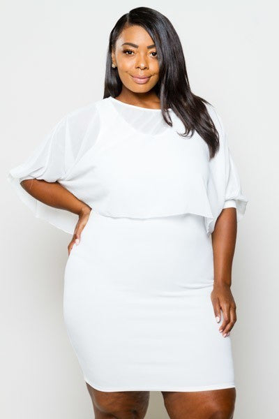 Plus Size Cocktail Chiffon Dress & Top Set