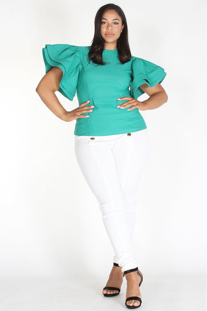 Plus Size Glam Solid Ruffle Sleeve Top Teal