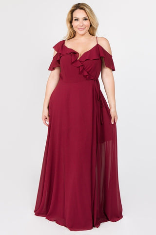 Plus Size Solid Ruffle Off Shoulder Maxi Chiffon Dress