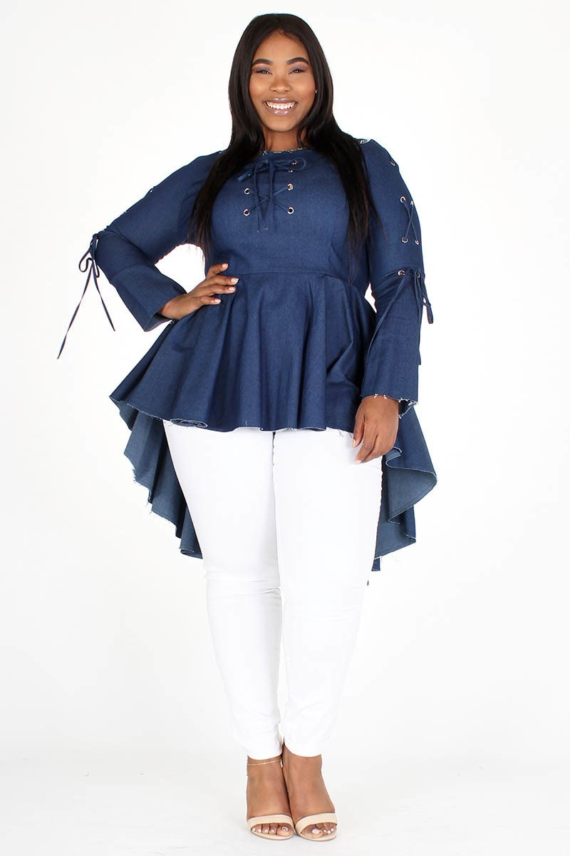 Plus Size Denim Peplum Tunic Hi-Lo Top