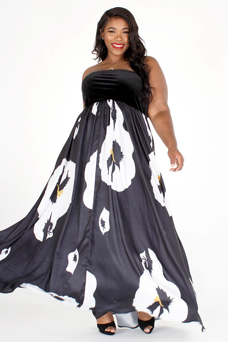 Plus Size Faux Seude Top Strapless Maxi Dress