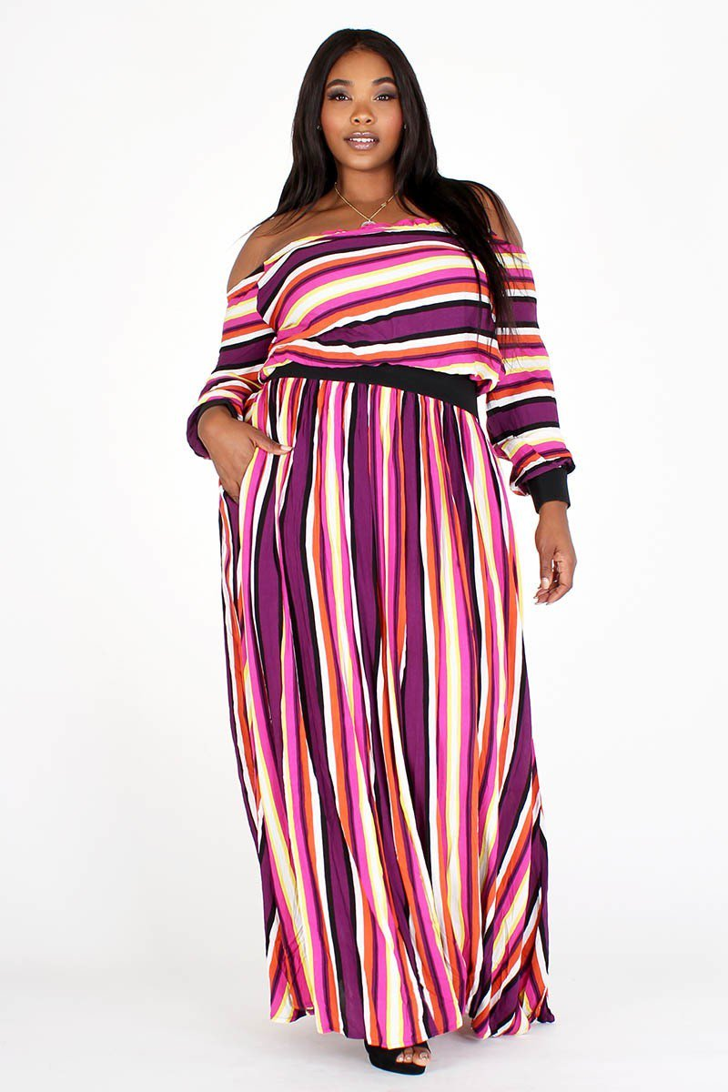 Plus Size Multi Color Stripe Two Piece Top Skirt Set