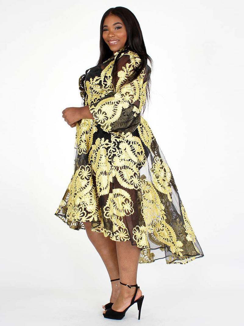 Plus Size Tapestry Pattern Embroidered Peacoat Dress