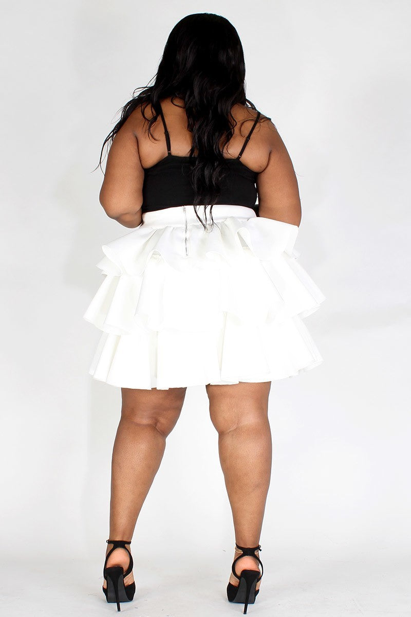 Plus Size Multi-Tiered Ruffle Skirt With Zipper Back