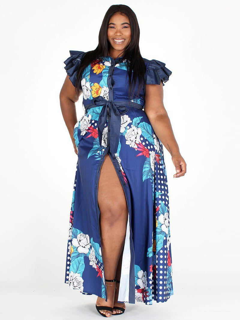 Plus Size Denim Ruffled Sleeves Belted Dress